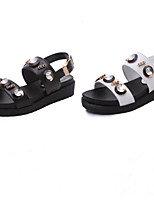 Women's Shoes Faux Leather Flat Heel Round Toe Sandals Casual Black/White