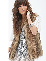 Women's Elegant Faux Fur Warm Vest Sleeveless  Fur  Coat