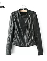 LIVAGIRL®Women's Jacket Fashion Long Sleeve Stand Collar Slim PU Leather Jacket Europe Style Hopo Casual Outwear Coat
