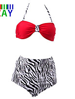 ZAY Women's Fashion Vintage High Rise Push-up Animal Halter Bikinis