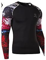 Herren Sport T-Shirt  -  Druck Lang Baumwollmischung