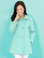 Women's Solid Pink/White/Green Coat , Vintage/Casual Long Sleeve Cotton/Wool Blends