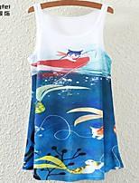 Women's Blue T-shirt Sleeveless