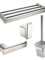 Sets d'accessoire de salle de bain/Porte-rouleau WC/Patère de vêtement/Porte-brosse WC/Sèche-serviette - Contemporain - Miroir Poli -