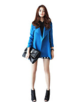 Women's Solid Blue/Black Trench Coat , Casual/Work Long Sleeve Polyester