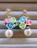 Korean Colorful With White Pearl And Rhinestone Earring H0288QD