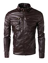 Men's Long Sleeve Jacket , PU Casual Pure