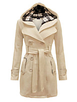 Women's Fashion Slim Double Breasted Solid Color Woolen Hooded Coat