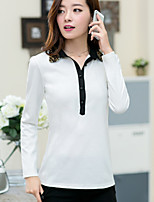 Women's Casual Plus Sizes Micro-elastic Long Sleeve Regular T-shirt (Cotton)
