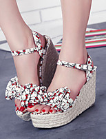Women's Shoes Fabric Platform Wedges Sandals Casual Yellow/Red