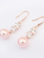Women's European Style Fashion Zircon Alloy Drop Earrings With Imitation Pearl