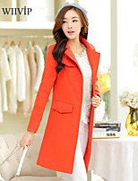 Women's Casual/Work/Plus Sizes Medium Long Sleeve Long Trench Coat (Cotton/Polyester)WP7D10