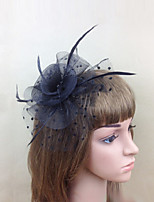 Women Fabric Hair Clip , Party Mesh / Feather Flower Headpiece