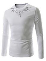 Men's Casual Print Long Sleeve Regular T-Shirt (Cotton)