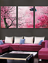 E-HOME® A Tree Full of Flowers Clock in Canvas 3pcs