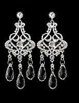 Vintage Women's Round Earrings Diamond Long Silver Earring For Wedding Bridal