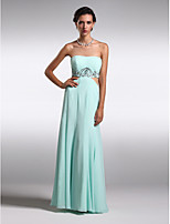 Homecoming Formal Evening Dress - Sky Blue Sheath/Column Jewel Floor-length Chiffon