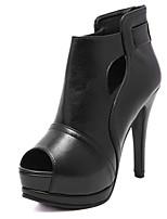 Women's Shoes Stiletto Heel Peep Toe / Open Toe Boots Office & Career / Dress / Casual Black