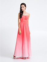Homecoming Floor-length Chiffon Bridesmaid Dress - Watermelon Sheath/Column Strapless
