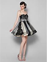 regresso a casa vestido de coquetel - uma linha strapless preto curto mini-tule /
