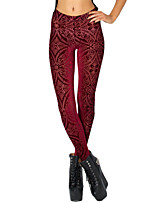 Women's Skinny Velvet Thin Red Solid Color Print Legging