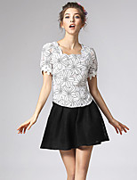 Women's Solid Black Skirts , Casual Above Knee Layered/Mesh