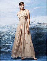Homecoming Formal Evening Dress - Champagne A-line Jewel Floor-length Chiffon