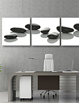 E-HOME® Stretched Canvas Art Black Stone Decorative Painting  Set of 3