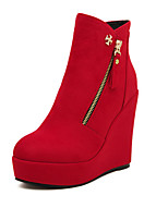 Women's Shoes  Wedge Heel Wedges/Combat Boots/Round Toe Boots Casual Black/Red