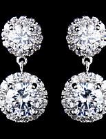 Vintage Women's Round Zircon Earrings  Diamond  Silver Earring For Wedding Bridal