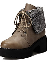 Women's Shoes  Chunky Heel Platform/Combat Boots/Round Toe Boots Casual Brown/Gray