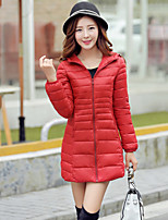 Women's Stand Collar Slim Thin Long Sleeve Down Coat , Casual/Cute/Work Cotton/Polyester/Feather