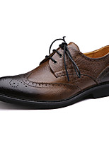 Men's Shoes Casual Leather Oxfords Gray/Yellow/Red/Khaki/Brown