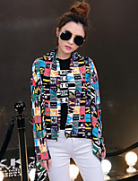 Women's Print Multi-color Trench Coat , Casual/Print Long Sleeve Cotton/Cotton Blends Tassel