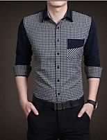 Men's Casual Checks Long Sleeve Regular Shirt (Cotton)