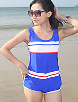 Women's Halter One-pieces , Color Block Polyester Blue