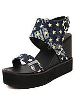 Chaussures Femme - Décontracté - Bleu / Or - Talon Compensé - Compensées - Sandales - Toile de jean