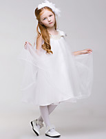 Princess Knee-length Flower Girl Dress - Tulle/Polyester Sleeveless