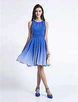 Homecoming Knee-length Chiffon Bridesmaid Dress - Royal Blue A-line Scoop