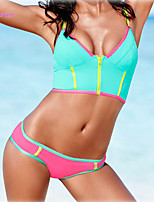 Women's Halter Bikinis , Color Block/Bandage Push-up/Wireless/Padded Bras Polyester/Spandex Multi-color