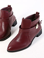 Women's Shoes Low Heel Pointed Toe Boots Casual Red/Burgundy