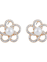 Glamorous Hollow Petals Crossed Shell Pearl Stud Earrings