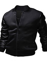Men's Long Sleeve Jacket , Polyester/PU Casual