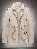 SENLEIS®Men's Casual Work Plus Sizes Pure Long Sleeve Regular Trench coat (Polyester)