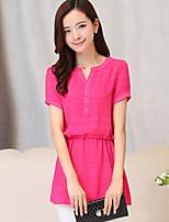 Women's Casual Micro-elastic Short Sleeve Long Blouse (Chiffon/Lace)