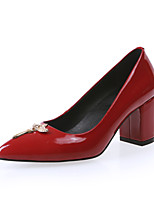 Women's Shoes Patent Leather Chunky Heel Heels/Pointed Toe/Closed Toe Pumps/Heels Party & Evening Black/Pink/Red