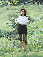 Women's Casual/Lace/Party/Work Fluttery Thin Asymmetrical Skirts (Lace/Mesh)
