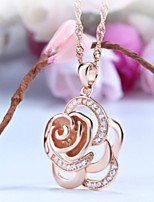 Women's Silver Rose Gold Necklace Pendent With Cubic Zirconia