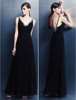 Formal Evening Dress - Black Sheath/Column V-neck Floor-length Georgette