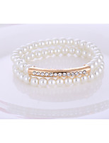 Woman Imitation Pearl Rhinestone Bracelet Hypoallergenic Multilayer Alloy Beaded Jewelry